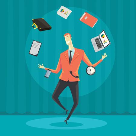 Malabares de negocios con equipo de oficina. Ilustración de dibujos animados vector de Creative en hacer dinero y el concepto de gestión de patrimonio. Ilustración de vector