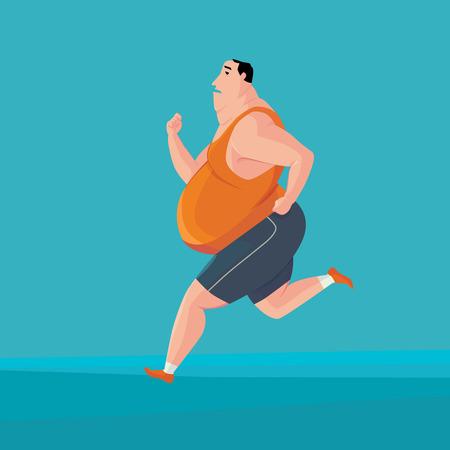 Fat man jogging to lose weight. Vector Illustrator. Vectores