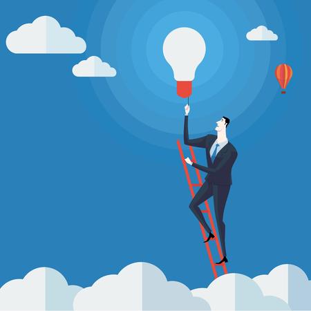 사업가 구름 위의 사다리에 조명 켜십시오. 벡터 일러스트 레이 션 비즈니스 개념 사다리 성공의 회사입니다.