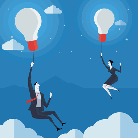 Businessman flying in air balloon with light bulb. Vector Illustration Business concept a ladder Corporate of success. Vectores