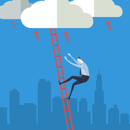 climbing ladder: Businessman climbing up a ladder to cloud. Vector Illustration Business concept a ladder Corporate of success.
