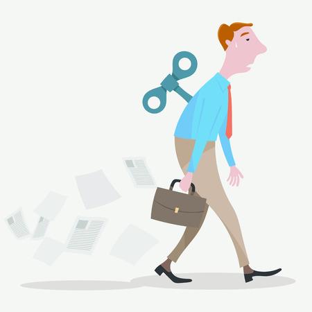boring: Businessman man walking with a wind up key boring job.