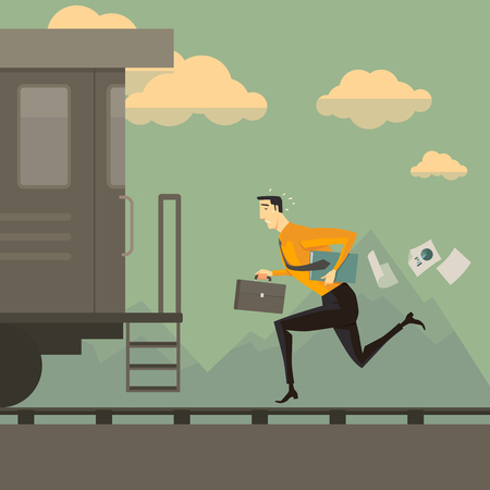 conquering: Man running after the train. Business success concept conquering adversity overcoming leadership challenge aspiration ambition motivation hurry up, vector illustration.