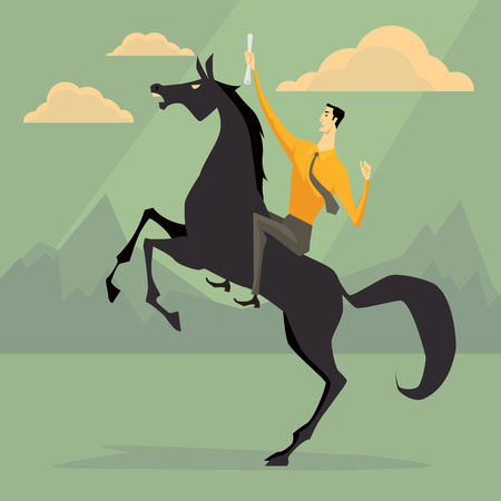 Young businessman riding a horse skittish. Business concept for success. Illustration
