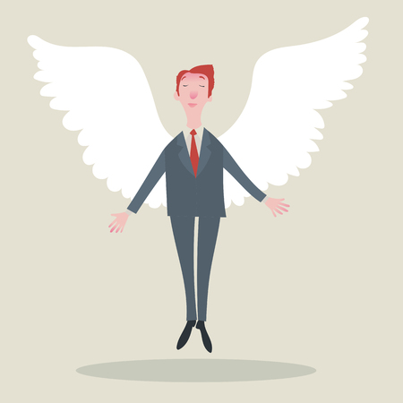corporate ladder: Businessman with wings. Vector illustration.