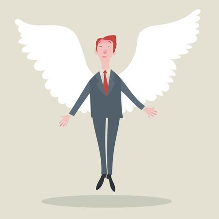 alas de angel: Hombre de negocios con alas. Ilustración del vector.