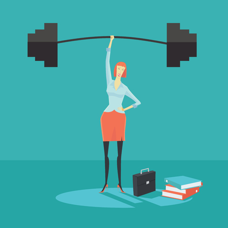 Businesswoman holding a barbell with one hand, the concept of achievements in business-vector illustration. Vectores