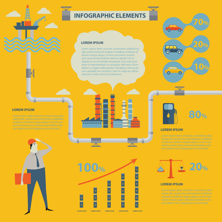 The process of oil production and petroleum refining. Vector Infographic design elements. Illustration