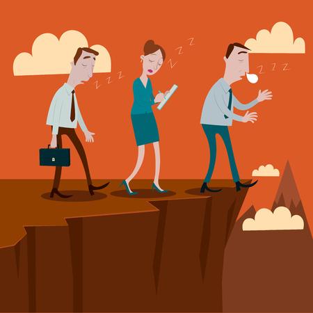 ignorance: Businessman sleepwalking off a cliff. Illustration