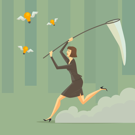 idea sketch: A young woman with a sweep net at green forest. Business concept for success.