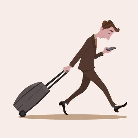 walk away: Young business man pulling the luggage busy with mobile phone. Illustration