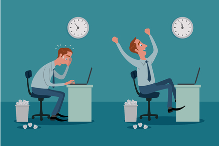 hombres ejecutivos: Hombre asentado en un ordenador port�til funciona con la presi�n, y ser feliz. Vectores