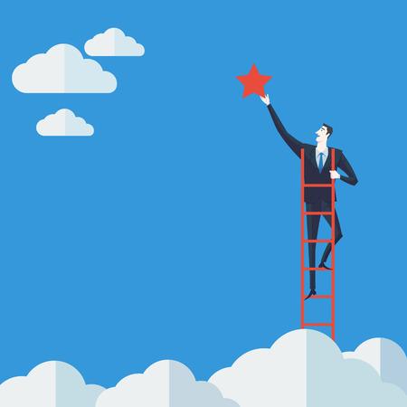 success: Hombre de negocios en una escalera agarrar la estrella por encima de las nubes. Ilustración vectorial Concepto de negocio de una empresa escalera del éxito.