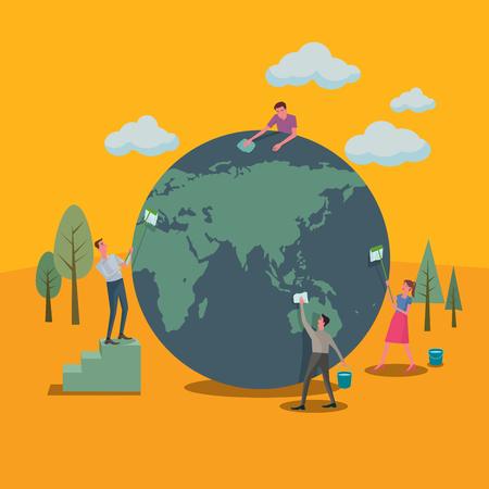 많은 사람들이 세계와 녹색 개념을 정리하는 것을 도왔다. 일러스트