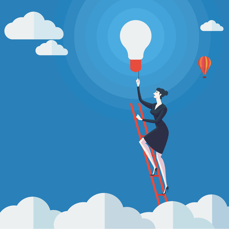 entrepreneur: Young woman turn on the lights on a ladder above cloud. Vector Illustration Business concept a ladder Corporate of success.