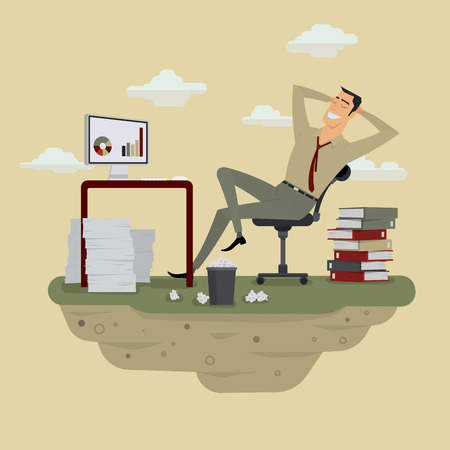 joyful businessman: Young businessman in sunny meadow nature office relaxing behind table, vector illustration.