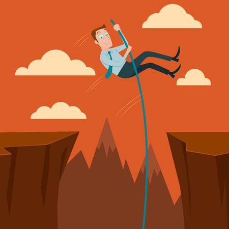 pole vault: Businessman crossing the chasm with the pole vault. Vector Illustration. Illustration