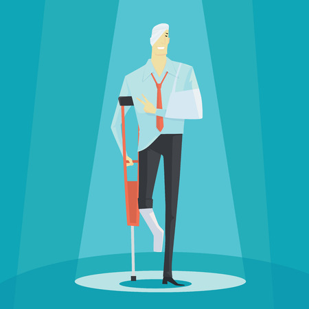 Businessman on crutches of an injured, full length portrait. Vector illustration business concept.