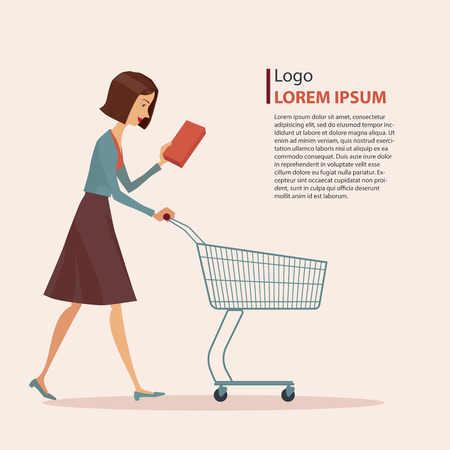 nude girl young: Young girl in casual wear with shopping cart, vector illustration.
