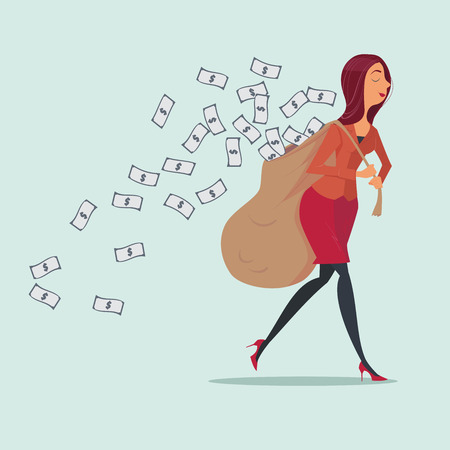 carrying heavy: Young woman in casual carrying heavy money bag business concepts,vector illustration.