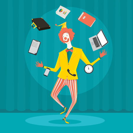 wealth management: Funny clown juggling with office equipment. Creative vector cartoon illustration on make money and wealth management concept.