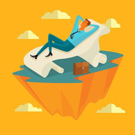 Zakenman in de lucht positie Slapen op een lange vel papier in vrede voor alle geestelijke en innerlijke rust business concepten, vector illustratie.