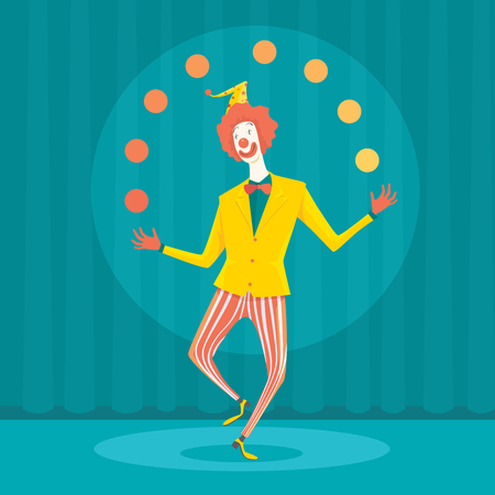 juggle: Funny clown juggling with colorful balls. Creative vector cartoon illustration on make money and wealth management concept.