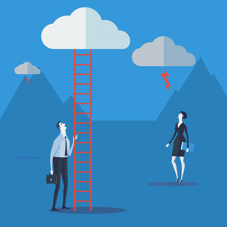 corporate ladder: Businessman look up a ladder to cloud. Vector Illustration Business concept a ladder Corporate of success.