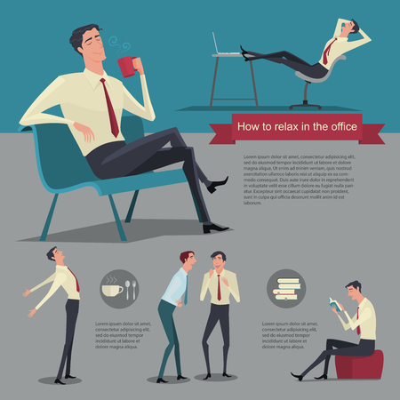relaxation: How to relax between work. Vector Illustration Businessman working office life.