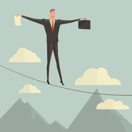 afraid man: Conceptual concept of businessman or man in crisis walking in balance on rope over blue sky background Illustration