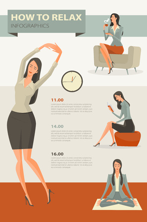 routine: Character cartoon set of businesswoman, Coffee break and relaxing office life. Vector Illustration simple character with flat design. Illustration