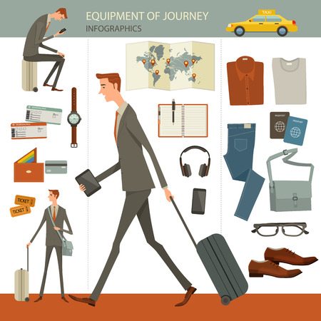 haversack: Infographics of business travel and journey concept, flat design, businesspeople character, objects Different objects isolated on white background.