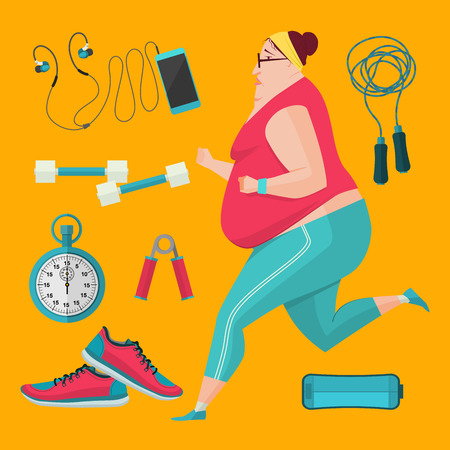 woman jump: Obese women jogging to lose weight. Vector Illustration flat style fitness equipment.