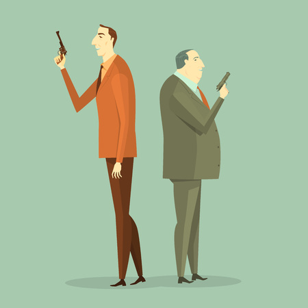 Business man to gunfight. Vector Illustration Business concept Corporate of challenge.