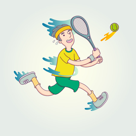 male tennis players: Cartoon tennis player. Illustration character design sport in trendy linear style. Illustration