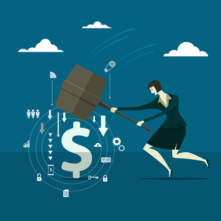 disrupt: Young pretty woman holding a big hammer and smashes on the blue background. Business concept illustration.