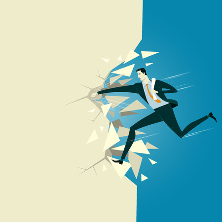 furtherance: Manager breaking the wall. Abstract business concept of success or breakthrough. illustration flat style finance banking web infographics.