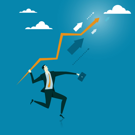 furtherance: Manager thrown an arrow to the sky. Abstract business concept of success or breakthrough. illustration flat style finance banking web infographics. Illustration
