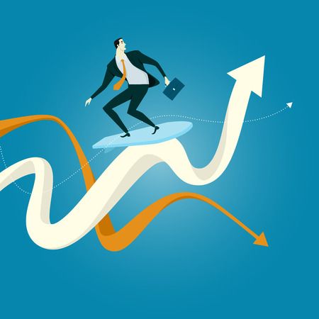 radical: The young man surfing on the wave of chart A surfer executes a radical move on a chart wave. Business Concept of Challenge Illustration.