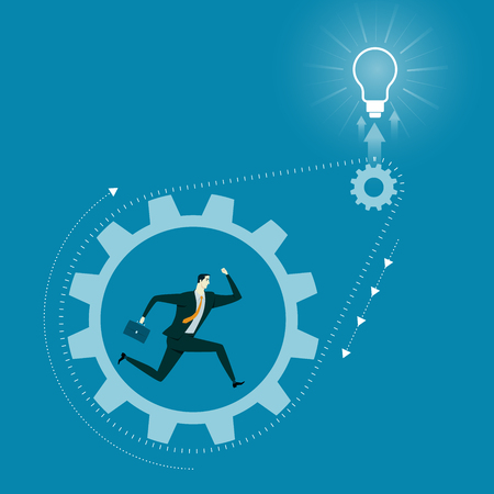 endeavor: Business Concept of Success. Caucasian man run inside metal gear. Illustration design idea.