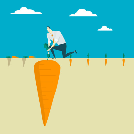 overcoming adversity: The man uprooting fresh carrot from his vegetable yard. Growth Leadership business concept conquering adversity overcoming leadership challenge aspiration ambition, illustration flat style. Illustration