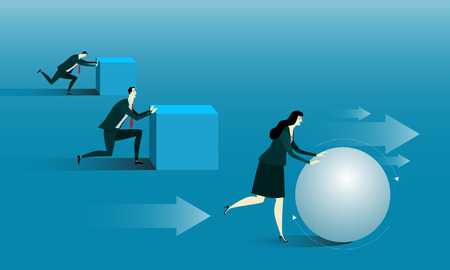 uphill: Manager be rolling a ball or attempt an uphill task. Business success concept conquering adversity overcoming leadership challenge aspiration ambition motivation, illustration flat style.