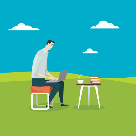 break in: The man relax use his computer in coffee break in the midst of meadow. Illustration