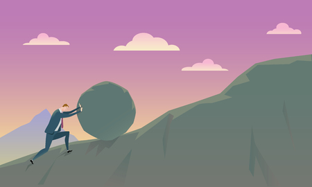 hill: Business Concept of Conquering Adversity businessman pushing a rock uphill. Illustration. Illustration