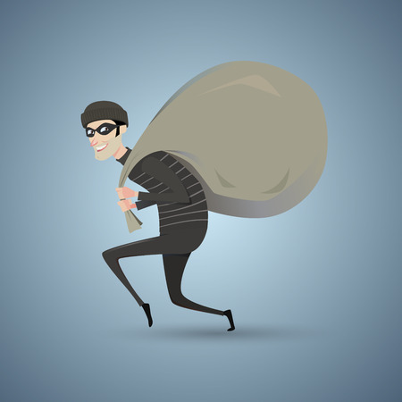 burglar man: Thief in black clothes carrying a large bag. Illustration