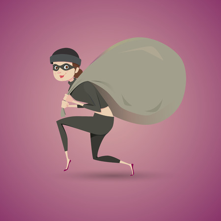 sneaking: Thief in black clothes carrying a large bag. Illustration