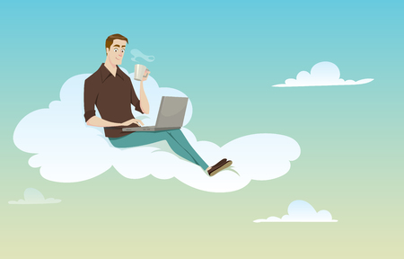 break in: Young man sitting on the cloud using his computer on sunny weather in coffee break. Illustration
