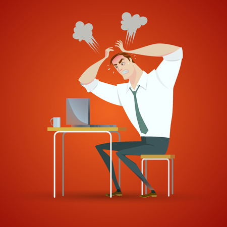 Angry man have problems. Illustration of Office life. Vectores