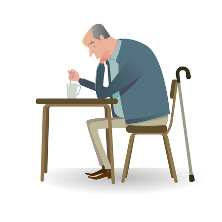 Sad senior man with cane sitting on a chair. Vector Illustration character of unhappy or sadly.