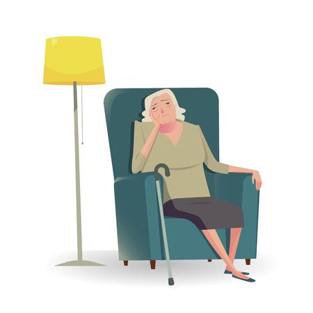 Mujer mayor triste con la caña que se sienta en un personaje sofa.Vector Ilustración de infeliz o tristeza.